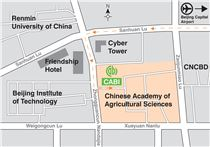Map showing directions to CABI's China office.