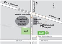 Map showing directions to CABI's Pakistan office.