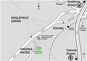 Map showing directions to CABI's Egham UK office.
