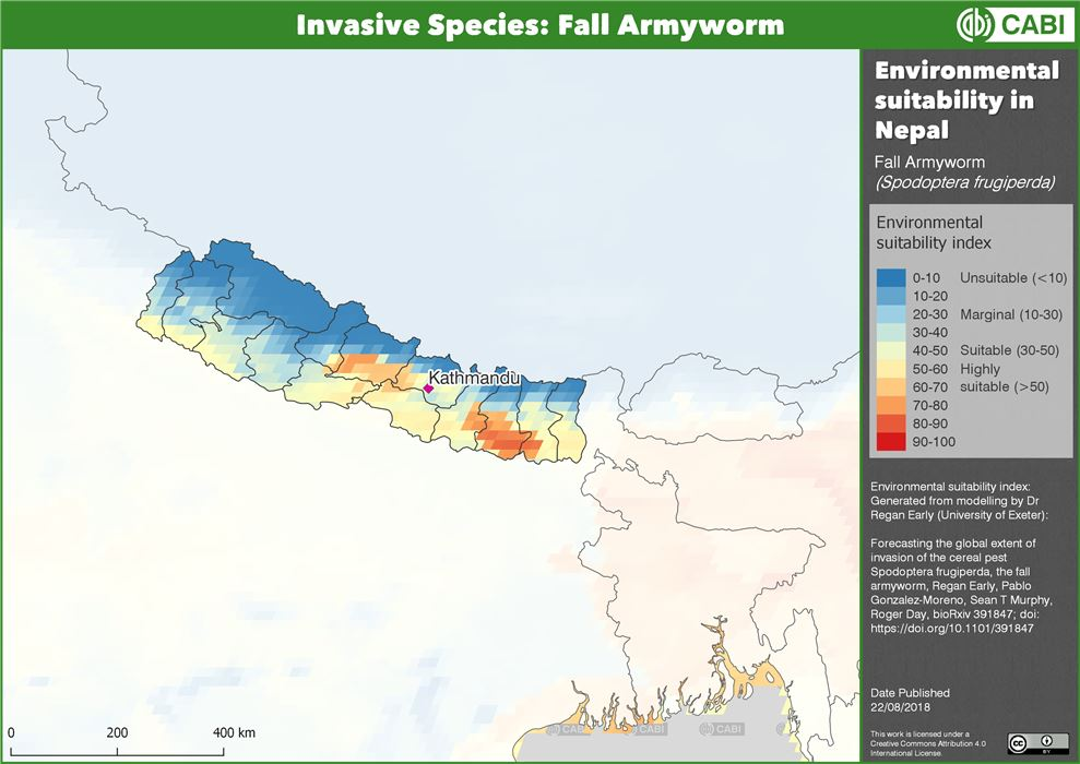Environmental suitability for FAW in Nepal
