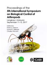 Book cover for Proceedings of the 5th International Symposium on Biological Control of Arthropods, Langkawi, Malaysia, September 11-15, 2017.