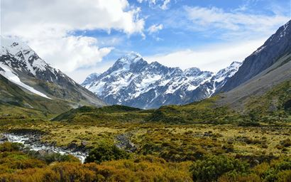 Mount Cook in the Southern Alps of New Zealand.