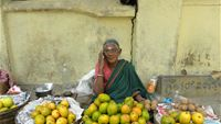 Fruit seller woman on her mobile
