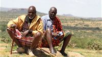 Masai men with Opuntia Stricta cactus in Laikipia