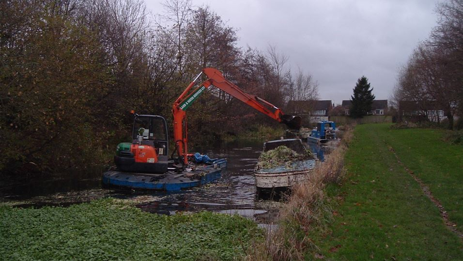Mechanical dredging of pennywort in the UK