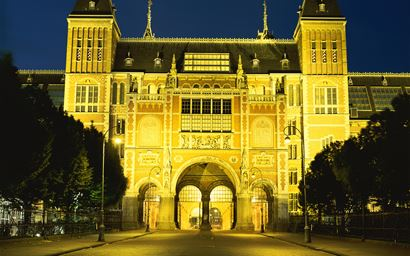 Rijksmuseum in Amsterdam by floodlights