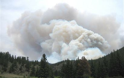 Fire in a Colorado forest.