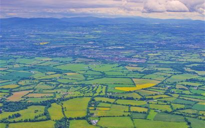 Aerial shot of a patchy farm landscape