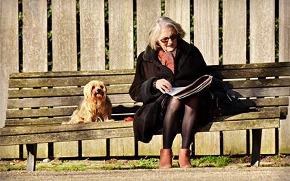 Elderly woman reading on a bench