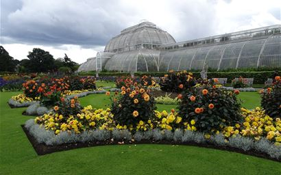Kew gardens glasshouse with ornamental flower beds