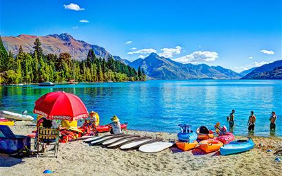Beach at boats at Queenstown, New Zealand