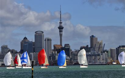 Sailing boats in Auckland harbour, New Zealand