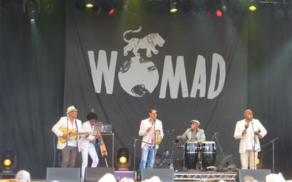 Band on stage at Womad music festival