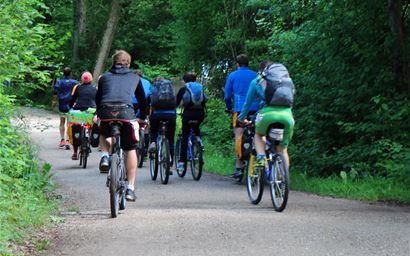 Group of leisure cyclists on cycle path