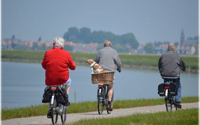Older people cycling