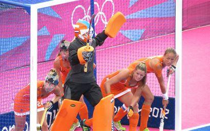 Members of Holland's Female Olympic Hockey team, during the 2012 London Olympics.