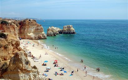 Praia da Rocha (Beach of the Rocks) in Portimão, Algarve, Portugal
