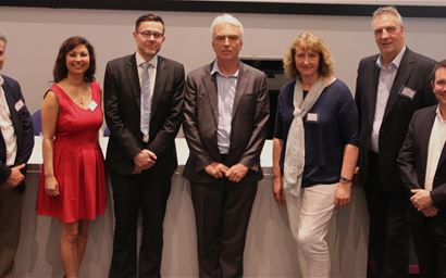 Pictured from left to right: Professor Danny Mills – University of Lincoln, Dr Siobhan Abeyesinghe- RVC, Professor Alex German - University of Liverpool, Robert Taylor - CABI,  Dr Sandra McCune - Waltham Centre for Pet Nutrition, Peter Gorbing- Dogs for Good, Dr Martin Whiting - RVC