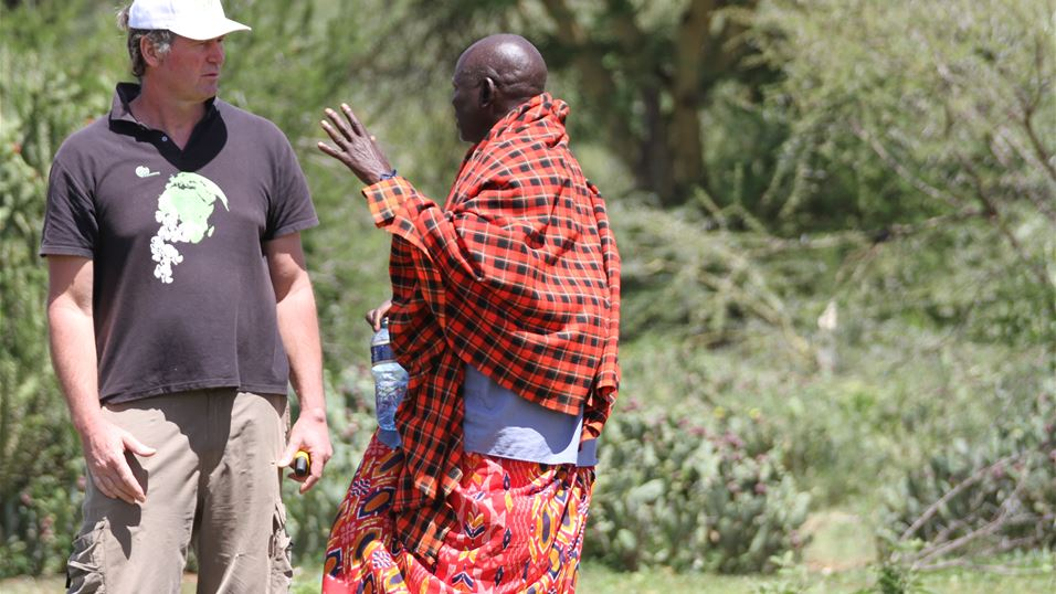 Arne Witt and Masai man with Opuntia Stricta Cactus in Laikipia