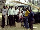 House Crow Control Team with poles for bringing down nests, Mombasa, Kenya, 1986.