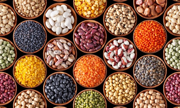 Pots of colourful beans