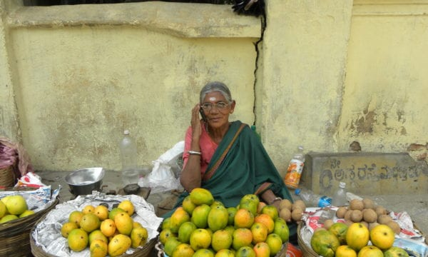 Fruit Seller Woman on Mobile