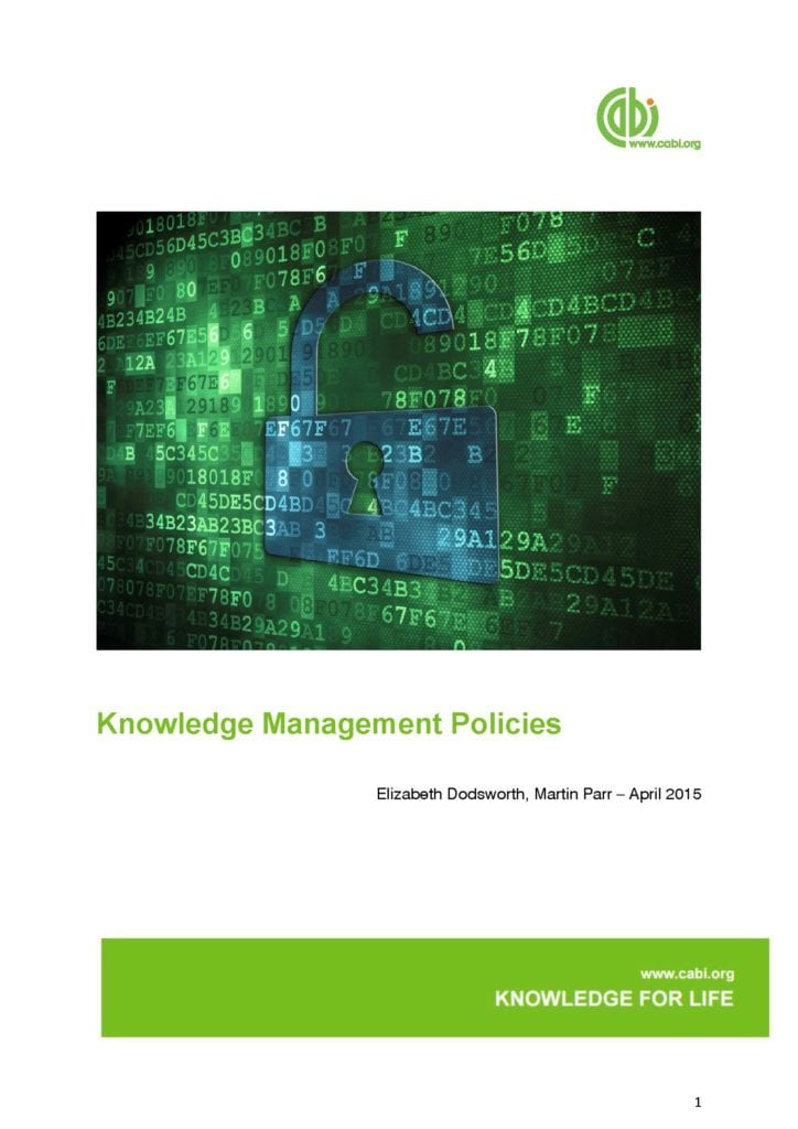 Front cover of CABI Data Management Policies
