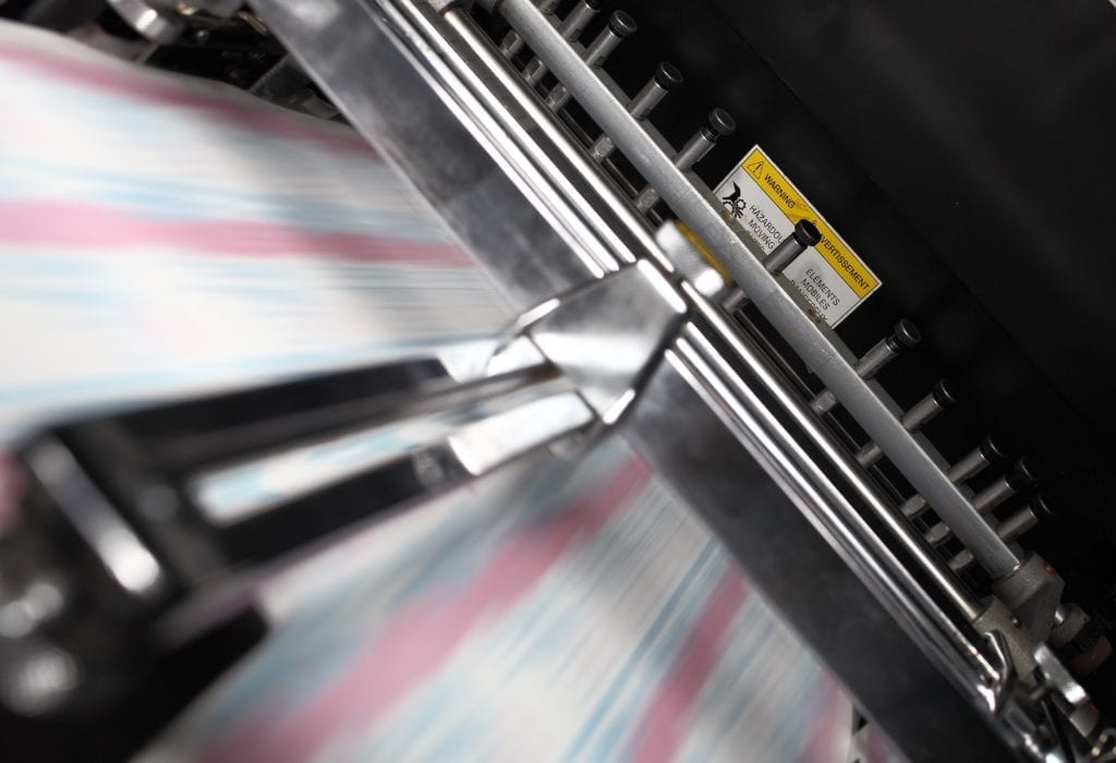 Close up of printing press