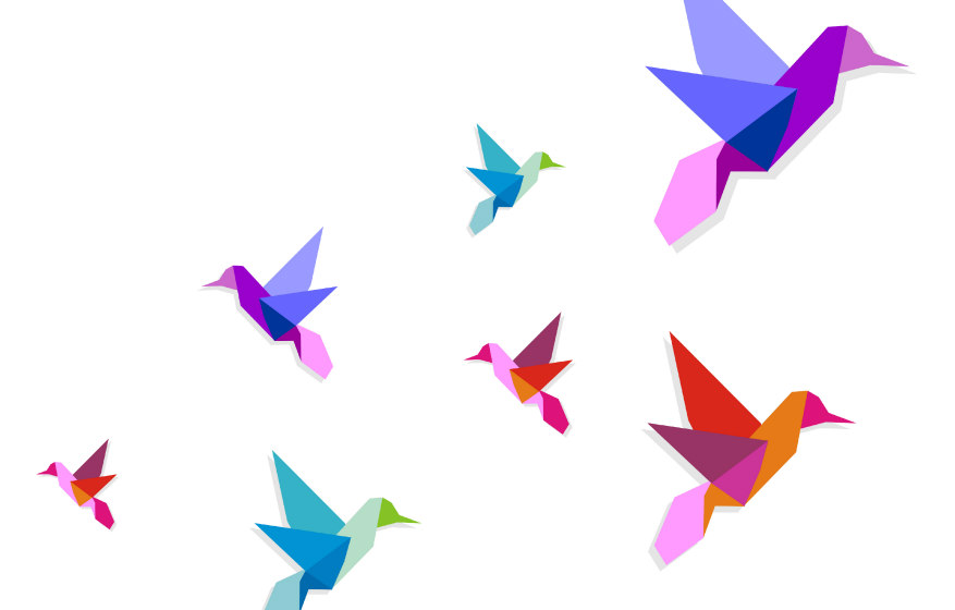 Group of various Origami vibrant colors hummingbirds. Vector file available.