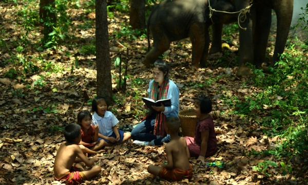 Women teacher teaching children with elephant and mahout watching